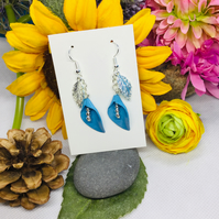 Offer blue flower and silver drop earrings