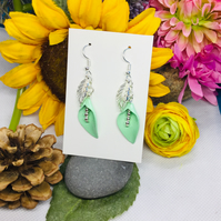 Offer green flower and silver colour drop earrings