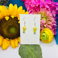 Offer yellow and silver colour drop earrings