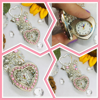 Sparkly Heart Watch Keyring