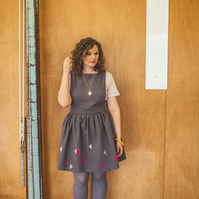 Windy Day Women's Grey Pinafore Dress with Pink & Grey Triangles