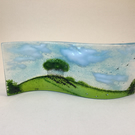 "Fused glass large freestanding wave. 9cm. ""Nearly home trees"". A30."