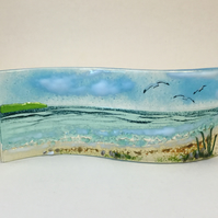 Fused glass Cornish seascene, large freestanding wave. 9cm tall.