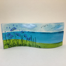 Cornish agapanthus sea scene  freestanding wave