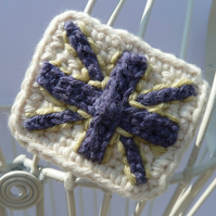 Crochet Brooch In a Union Jack flag design. FREE UK postage and Packaging.