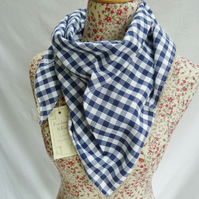 Scarf neckerchief style cotton scarf with crochet edging.