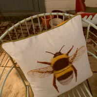 Bee cushion pillow. Brightly coloured cushion in vibrant Spring shades.
