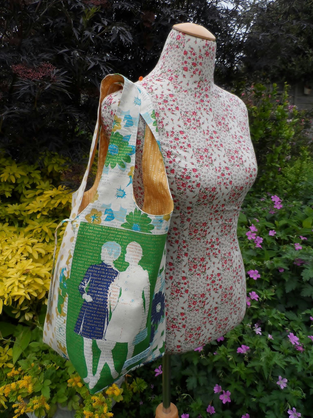 Shopper tote bag in a swinging sixties print fabric. FREE UK P & P.