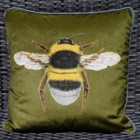 Velvet Bee cushion in olive velvet and linen. FREE UK Postage.