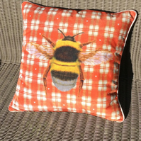 Velvet Bumblebee cushion. Free UK P&P. French weave design pillow.