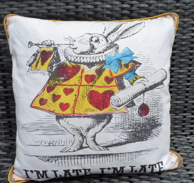 White rabbit character cushion. Alice in Wonderland pillow. FREE UK P &P.