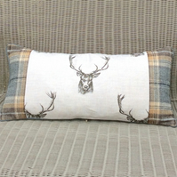 Stag and tartan cushion. Deer fabric and tartan pillow. Wool plaid bolster.