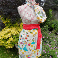 Apron in a gift bag. Waist pinny in retro kitchen cotton fabrics