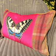 Butterfly cushion. Velvet and tartan Butterfly pillow in bold pink.