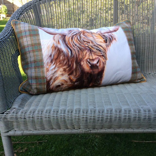 Highland cow cushion, Longhaired cow pillow, Tartan cow cushion, Plaid pillow,