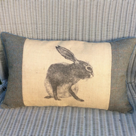 Hare cushion in hessian and wool plaid fabric. FREE UK P&P. Rabbit decor pillow.