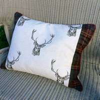 Stag cushion. Large oblong pillow cushion in linen and tartan.