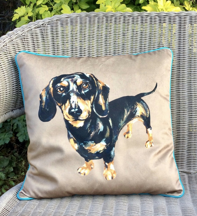 Sausage dog cushion in velvet and tweed. Dachshund pillow. FREE UK Postage.