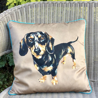Dachshund cushion in velvet. Dachshund pillow. FREE UK P&P. Caramel velvet.