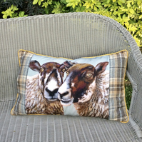 Sheep canvas and tartan cushion. Pair of sheep pillow. FREE UK Postage.