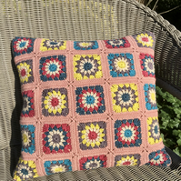 Crochet cushion in rich vintage shades. Free UK P & P. Large crochet pillow.