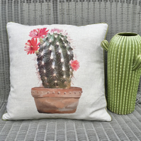Cactus cushion. FREE UK P&P. Handmade cactus print linen pillow. Garden decor.