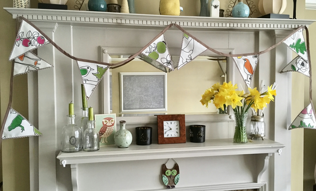 Bunting. Hanging garland in a nature and botanicals Fabric. FREE UK P&P.