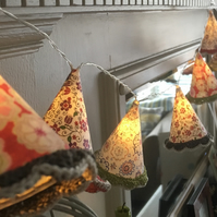 LED Lampshade Fairy lights in Liberty fabrics, crochet trim. FREE UK P&P