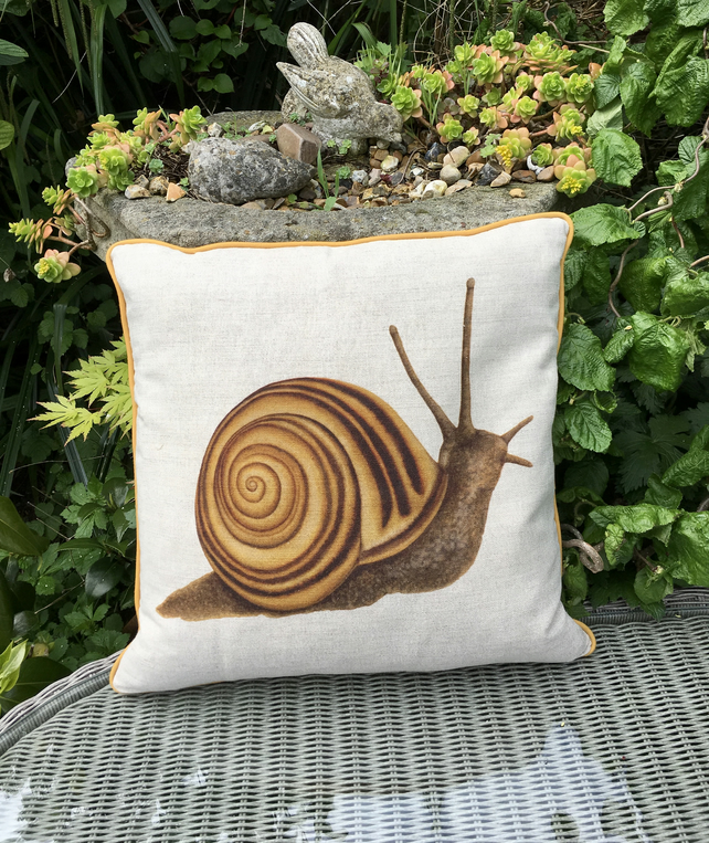 Snail cushion. Linen snail pillow. FREE Postage & Packaging in the UK.