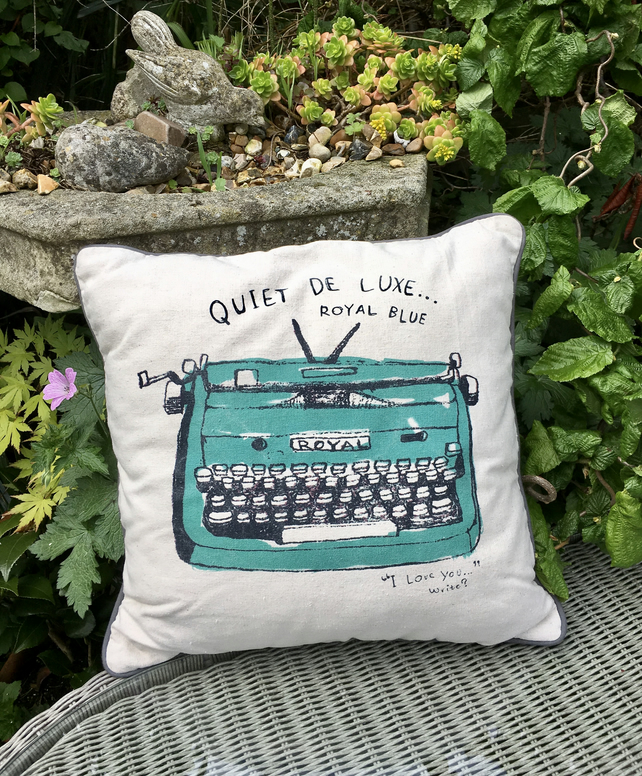 Typewriter cushion pillow. Free Postage &Packaging in the UK. Linen cushion.