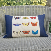 Butterfly cushion. FREE UK Postage.  Butterfly print pillow in linen and denim.