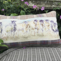 Sheep cushion. Flock of sheep scatter cushion. FREE UK P&P. Tartan cushion.