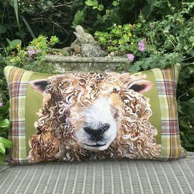 Sheep cushion. Long hair sheep pillow. FREE UK Postage. Large scatter cushion.