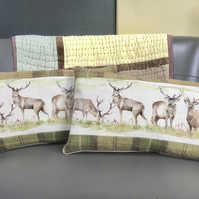Pair of stag cushions. Free UK P & P. Tartan and linen pillow. Deer cushions.