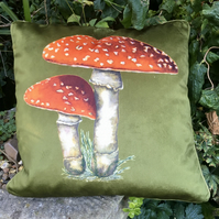 Velvet Toadstool cushion. Free UK P & P. Toadstool scatter pillow. Olive velvet.