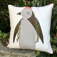 Penguin cushion. Christmas scatter pillow. Free UK P&P. Penguin pillow.