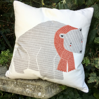 Polar Bear cushion. Festive scatter pillow. Free UK P&P. North Pole..