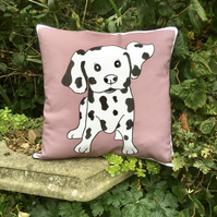 Dalmatian dog cushion. Spotty dog pillow. Dalmatian scatter cushion.
