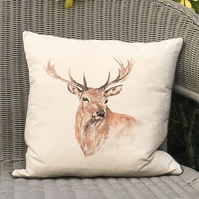 Stag Cushion. Stag deer scatter pillow. Free Uk P &P. Linen and wool cushion.