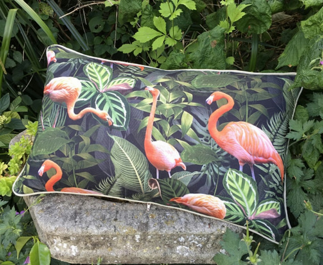 Flamingo Cushion. Flamingo print bolster pillow. Free UK P and P.