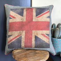 Union Jack plaid wool and hessian cushion. Large square union flag pillow.