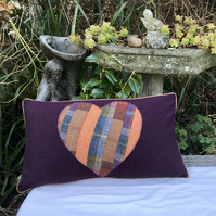 Patchwork Heart Cushion Cover. Free UK P & P. Plaid wool lumbar pillow.