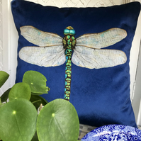 Navy Velvet Dragonfly cushion cover, Luxury velvet and tweed piped pillow cover.