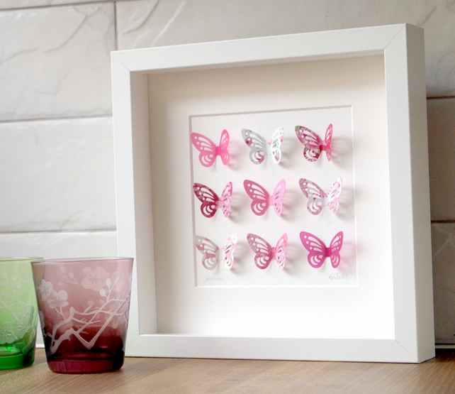 Butterfly Collection Pink in Small Box Frame