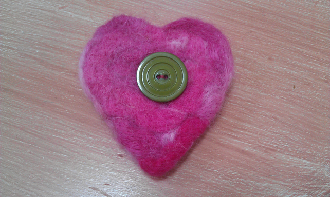 Felted heart brooch