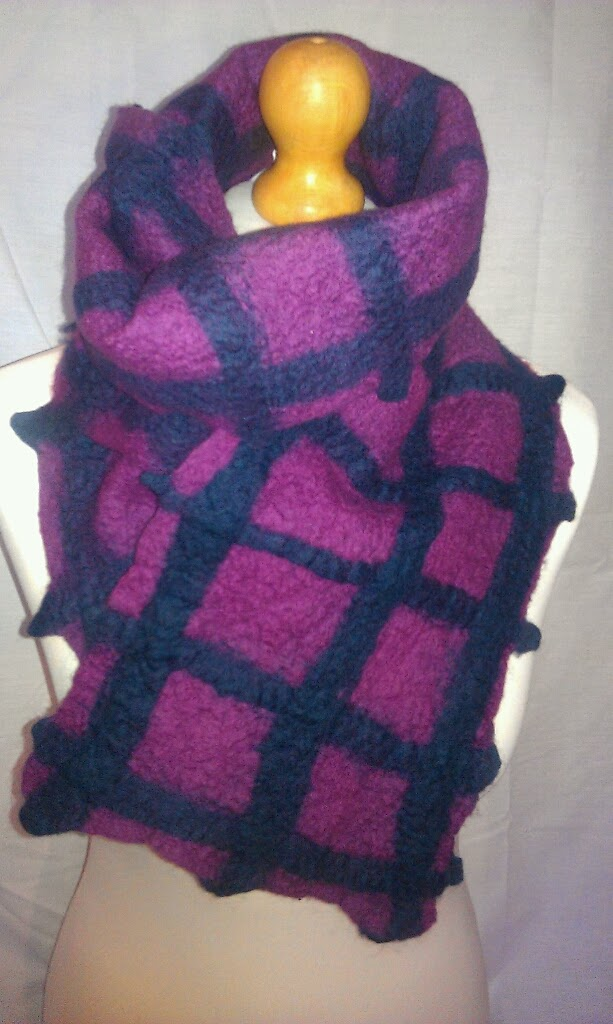 Gridwork felted merino scarf - made to order to your colour choice
