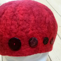Red felted merino hat, can be made to order in other colours
