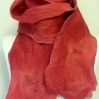 Gossamer soft, red felted scarf