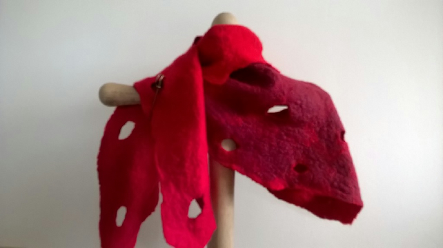 Cut out felted merino wrap in red (Can be made in other colours)