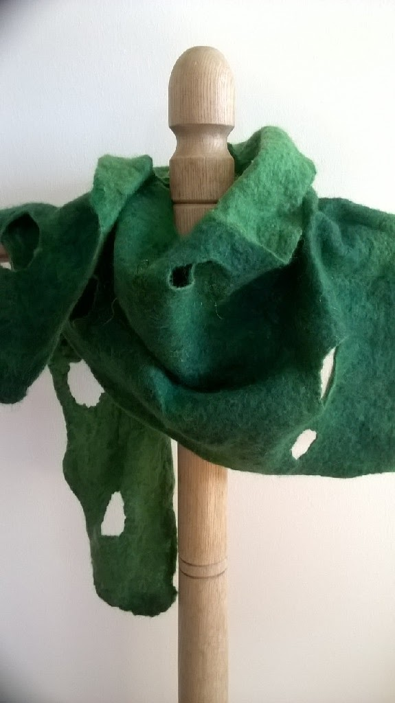 Cut out felted merino wrap in green (Can be made in other colours)